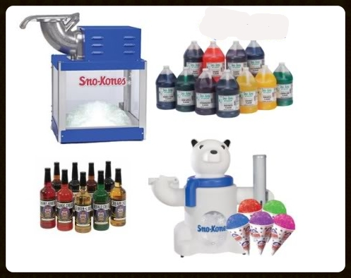 Snow cone machine and supplies