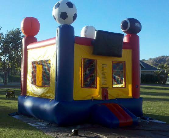 Sports bounce house with basketball hoop
